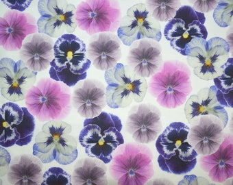 Pansies Fabric, Purple Floral Fabric, Fabric by the yard, Fat Quarter, Quilting Fabric, Apparel Fabric, 100% Cotton Fabric, F-9