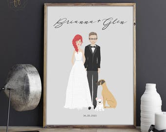 Custom Wedding Portrait, Illustrated Wedding Portrait, Wedding Portrait, Custom Portrait, Wedding Gift, Illustrated Portrait #ICS