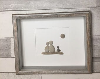 Pebble Art Couple with Cat ~ unique wedding gift, engagement gift, bridal shower gift, anniversary gift, retirement gift, housewarming gift