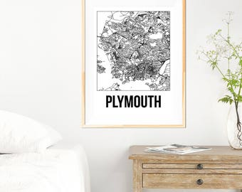 Plymouth City Map Print - Black and White Minimalist City Map - Plymouth Map - Plymouth Art Print - Many Sizes/Colours Available