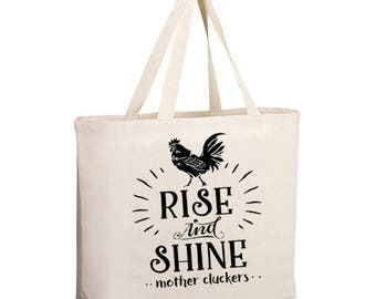 Rise and Shine market bag, Rise and shine tote bag, farmers market bag, farmers market tote, farmers market shopping bag, market bag