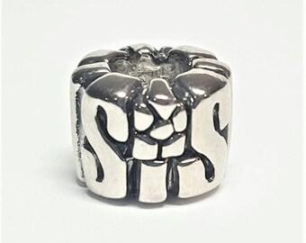 "Silver ""Sis"" Charm for European Bracelets (item 038)"