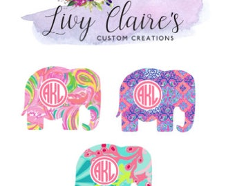 Elephant Monogram Decal, elephant, Decal, yeti, ozark trail, tumbler