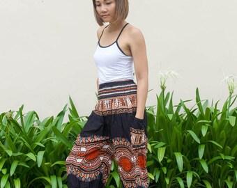 Women's High Waist African Dashiki Pants Tribal Pants Thai Harem Pants Yoga Pants Festival Pants Boho Pants Bohemian Pants African Pants