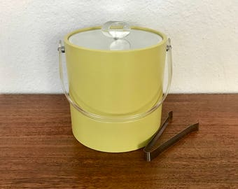 Lucite And Yellow Vinyl Ice Bucket With Tongs