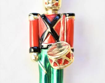 """Vintage Nutcracker Drummer Soldier Christmas Holiday Statement Brooch Retro Coat Sweater Pin 3"""""""