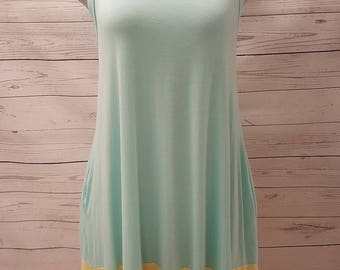Baby Blue Sleeveless Knit Dress with Colour Block Accents (Pockets)