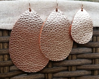 Rose Gold, Leather Earrings, Teardrop Earrings, Metallic Leather, Genuine Leather, Embossed Leather