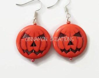 Jack-O-Lantern Earrings, Pumpkin Earrings, Halloween Earrings