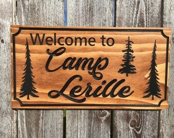Lake House Signs Cottage Rustic Cabin Welcome Signs Pine Tree Pine cone Primitive wood carved Sign Wooden Carved Cabin Plaque dk wicked cnc