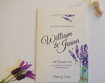 Rustic Wedding Order of Service, Lavendar, Eight Pages
