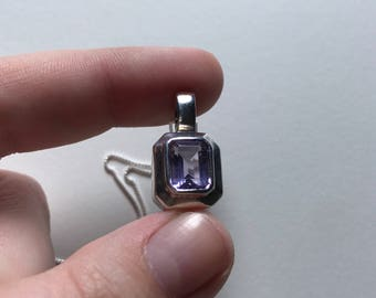 Vintage Amethyst (Emerald Cut) 925 Sterling Silver Pendant Necklace