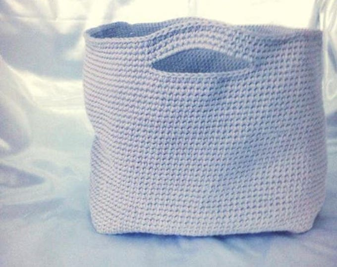 Storage basket crocheted in cotton or linen/viscose/acrylic