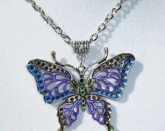 Purple & Blue Butterfly Necklace, Hand Painted Necklace, Hand Painted Butterfly, Hand Painted Jewelry, Handmade Jewelry, Butterfly Pendant