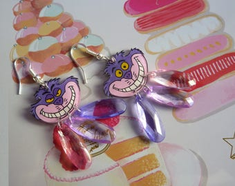 Sterling silver earrings 925 plastic alice cheshire cat crazy mad and perle goutte à facettes