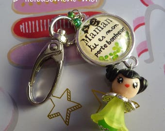 Keychain bag cabochon glass MOM snap charm you're my lucky girl kawaii chibi polymer clay green dress doll