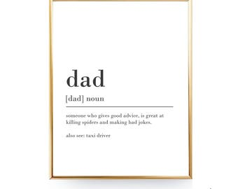INSTANT DOWNLOAD Dad Definition Print Funny Gifts For Dad Gift For Him Christmas Gifts For Men Christmas Printable Art Funny Definition 8x10
