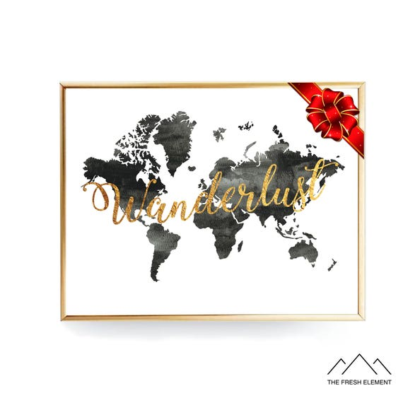 Wanderlust world map print digital download poster instant wanderlust world map print digital download poster instant download print wanderlust printable gold letters wanderlust print gumiabroncs Choice Image