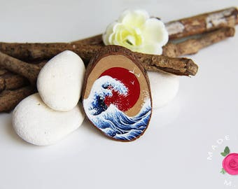 Hand - painted wooden brooch SECRET GARDEN - a season in the Japan