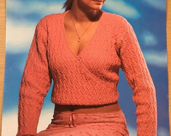 Ladies Cross Over Cardigan Knitting Pattern, King Cole Knitting Pattern, Ladies Cropped Cardigan, Ladies Short Sleeve Cardigan, No. 2763