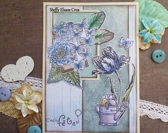Card Flower Butterfly blue Arroisoir party