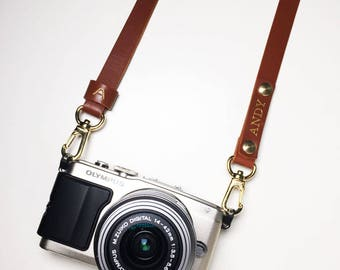Personalised Camera Strap Brown Italian Leather Crossbody Custom Handmade Monogram Avaloncraft Skinny Strap