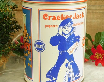 Large Vintage Cracker Jack Storage Tin 1990, Mascot Sailor Jack Bingo, Frito Lay Snack, Metal Canister, Kitchen Storage, Metal Ring Box, Old