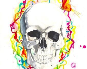Originale Malerei von Buttafly ( Vanessa Brünsing ) - Skull - 2015 - 42 cm x 56 cm - Totenkopf - Schmetterling - Kunstwerk