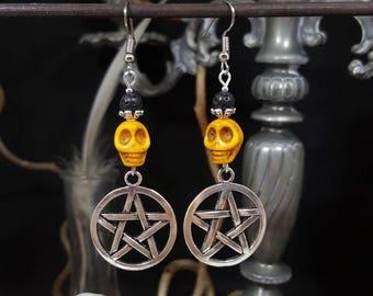 Pumpkin Skull earrings - skull - pumpkin - Pentagram - witch - halloween - occult - Voodoo - pagan - supernatural