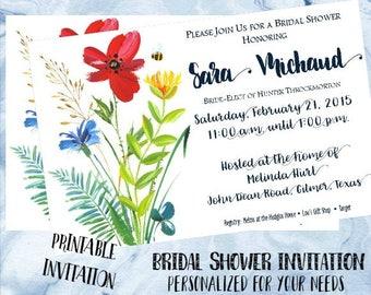 Bridal Shower Invitation - Garden Floral/Bee - Wedding Shower Invitation - Custom Invitation - Printable Invitation