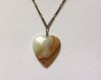 Brown and Tan Onyx Heart Pendant