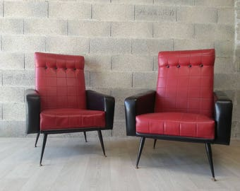 Pair of Rockabilly black and Red leatherette chairs