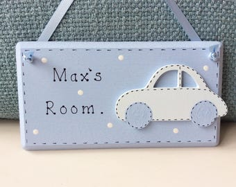 Personalised Boys Door Plaque - Boys Bedroom Door Plaques , Boys Plaques , Car Plaques , Personalised Plaques.