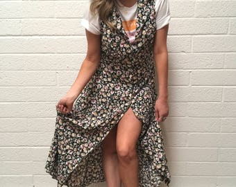 Vintage 90's Full Length Black Floral Button Up Sleeveless Maxi Dress - Black Lightweight Floral Summer Grunge Sun Dress - Medium