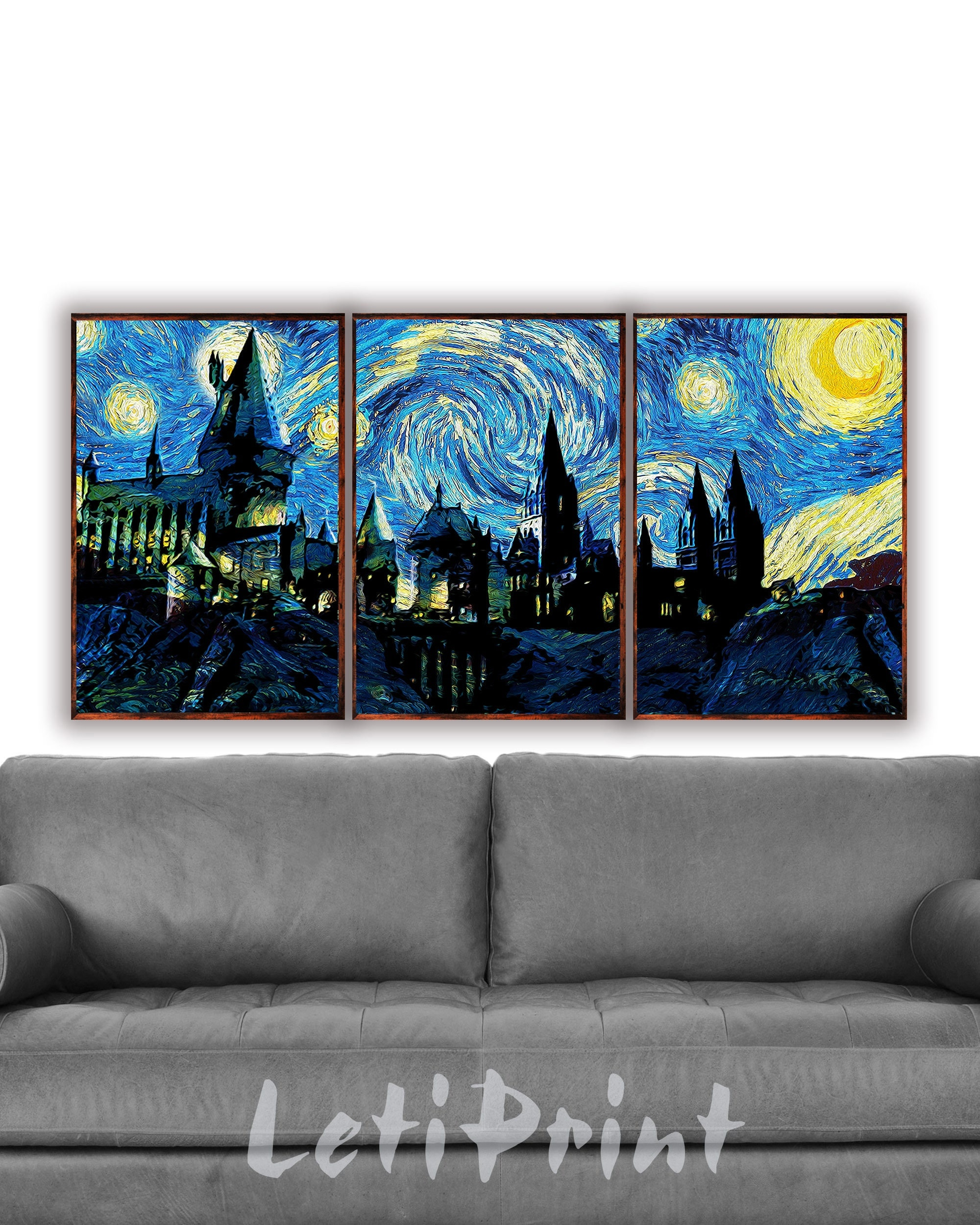 harry potter set of 3 prints hogwarts wall art starry night zoom