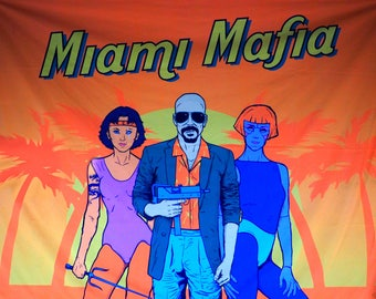 "UV neon tapestry ""Miami Mafia"" grand trief auto synthwave darksynth retrowave fluorescent ultraviolet newretrowave vice city gun killer"