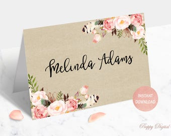 Floral Place Card Printable Rustic Place Cards Boho Place Cards Foldable Place Cards Kraft Tent Place Cards Editable Wedding Place Cards