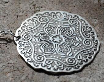 MEDALLION, TURKISH PENDANT Necklace, Long Necklace, Summer Jewelry, Antique Silver Circle Pendant, Turkish Medallion, Birthday gifts, boho
