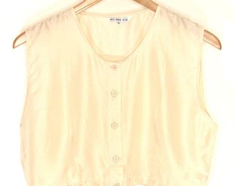Silk Cropped Button Top