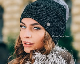 Black Wool hat women Winter hat Knitted hat pompon Black Wool winter hat White Chunky Knit Hat Wool hat Autumn clothes Beanie Fall Apparel