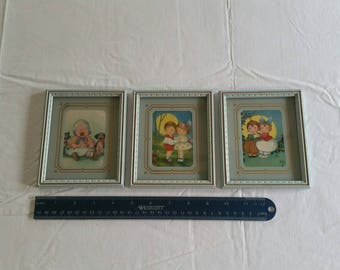 """set of 3 antique litho framed prints in wood frames 4.5"""" x 5.5"""" - boy girl and harvest moon and baby crying - pictures vintage art portrait"""