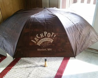 "vintage used large canopy wood handle 50"" umbrella - jackpot junction casino morton mn - 1980 era hotel monogram art travel pictorial photos"