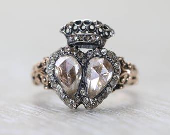 Georgian Diamond Double Heart Ring