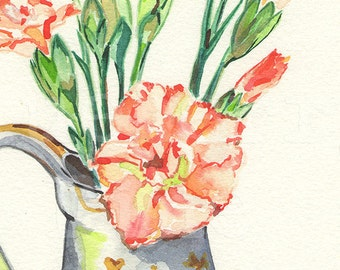 Carnations collection of two signed giclee prints Tamara Jare painting carnation flower in vase watercolor pink flowers watercolour wall art