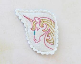 Unicorn Hair Clip  / Wool Felt Hair Clip / Unicorn Barrette / Girl's Felt Barrette / Girl's Accessory / Fairy Tale Accessory