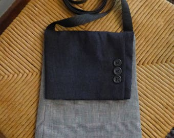 Upcycled Suit Coat Crossbody Purse / Bag - Navy Blue