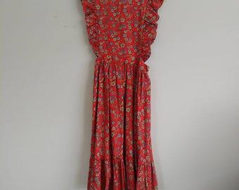Vintage Frilly Floral Apron Dress