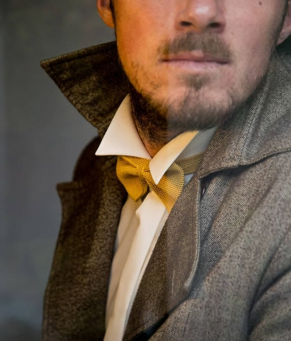 Knitted fly, 100% silk, gold/yellow/mustard