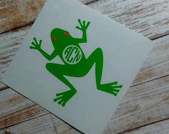 Frog Decal/Frog Monogram/Toad Monogram/Toad Decal/ Initial Monogram/Decal/Vinyl Decal/  Vehicle Decal/Initial Amphibian Decal/YETI/HTV Decal