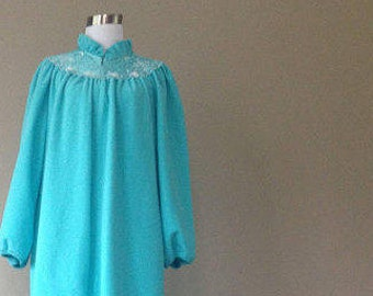 L / Sears At Home Wear Blue Long Nightgown/Robe / Soft Fleece / Large